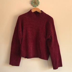 Cropped, mock neck chenille sweater, size M